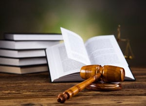 legal gavel on family law book